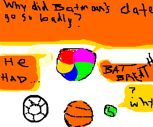Beachball tells Batman joke to group of balls.