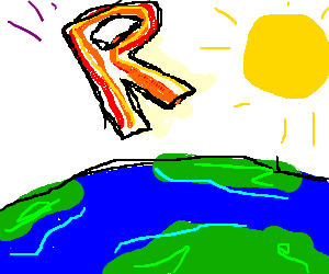 Giant letter R slams into the earth