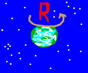 tThe letter R flies around in orbit above earth.