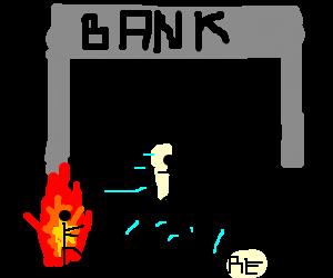 a burning stick-man chase 3 stick-men to a Bank