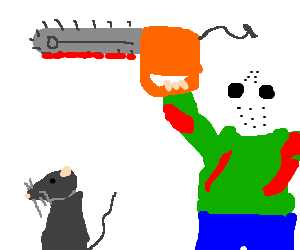 Man with chainsaw and hockey mask attacks a rat.