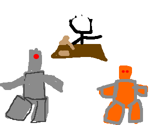 robot cyclops and orange robot settle in court