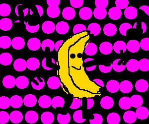 A Banana dancing on a polkadot background