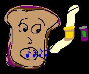 Sandwich w/ face sings peanut butter jelly time!