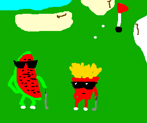 Watermelon and a bag of chips go golfing