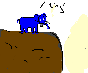 Blue elephant questions existence on cliff edge.