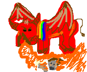 Rainbow striped chaos bull breathes fire on kid