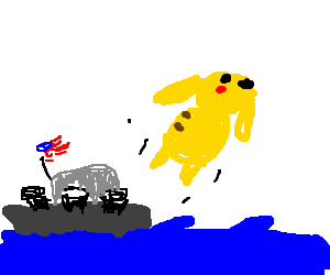 Pikachu is shot from US Navy ship