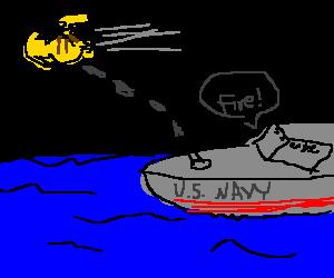 US navy ship firing guns at flying pikachu