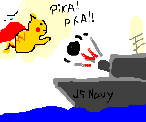 Flying Pikachu shooted by an U.S. Navy boat
