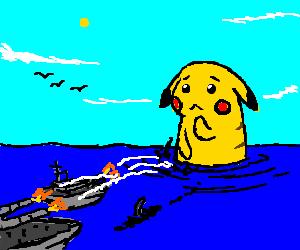 giant Pikachu vs the US Navy. Pikachu is sad