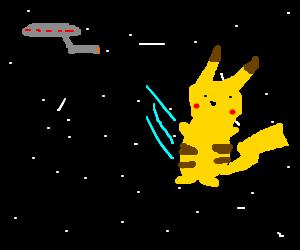 Pikachu set adrift in space by USS Enterprise