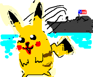 pikachu is thrown out from USS Enterprise