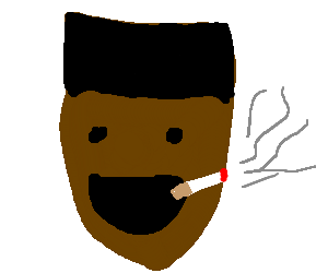 black guy smoking and being very happy