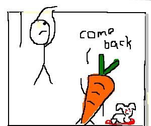 stick man is terrified of carrot and dead rabbit