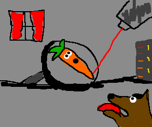 Dog traps Carrot in Bond'esque torture device