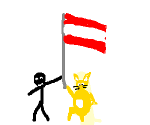 man and golden rabbit hold up an Austrian flag