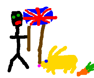 black stick man and yellow bunney holding a flag