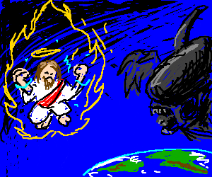 Jesus and an Alien fight over the earth