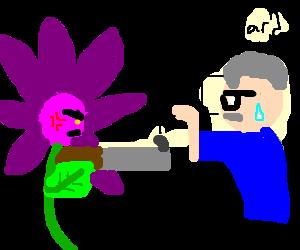 Pissed off flower uses shotgun on gameshow host
