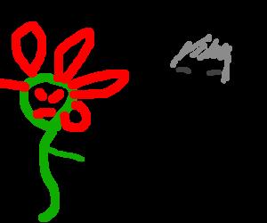 Mutant flower shooting Alex Trebek.