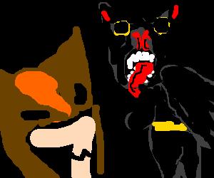 Wolverine vs. Batman in half-bat form