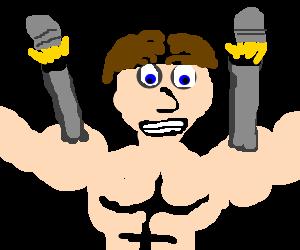 Gunbarrels coming out of a buffed guys muscles
