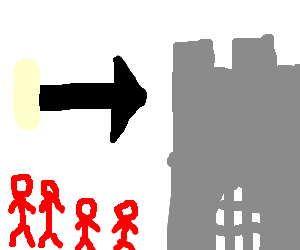 Blonde family in red wander into empty castle