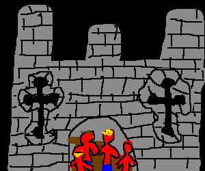 4 red men walks into a castle...