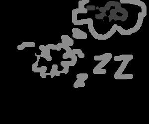 Sheep counting sheep to fall asleep