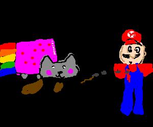nyan cat shoots mario with a thompson gun