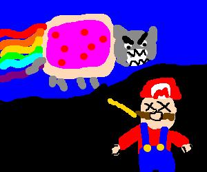 Nyan cat drive by kills mario