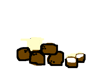5 coconuts in a pile