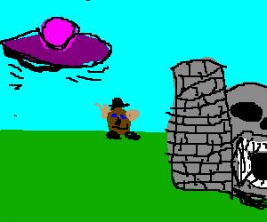 flying saucer, mr potatohead, greyskull castle
