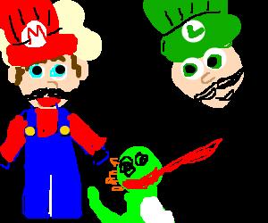 Iron Chef Mario vs Chef Luigi. Ingredient: Yoshi