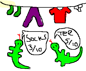 Lizards rate the clothes hanging on the line.