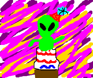 alien bursting out of birthday cake