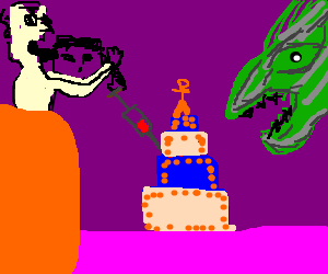 Headhugger injects into cake, alien appears