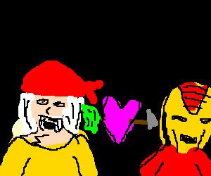 hulk hogan in red bandanna loves ironman