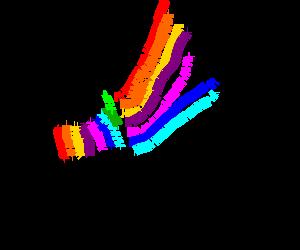 Rainbow megaphone makes sounds colourful