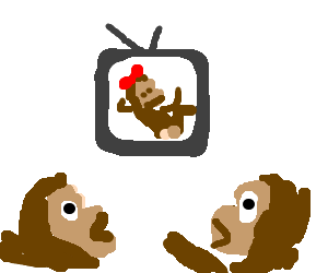Monkeys being surprised by what is on tv