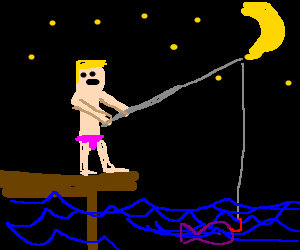 Man in Pink undies fishes at night