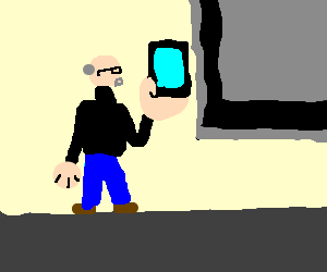 steve jobs shows off the ipad in his giant hand