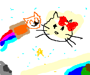 nyan cat and hello kitty meet in space