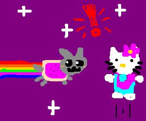 Nyan cat meets Hello Kitty
