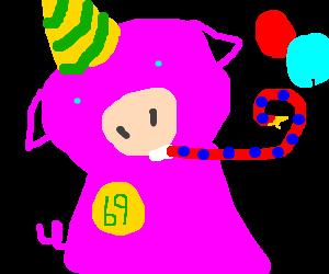 Pigman celebrates his birthday.