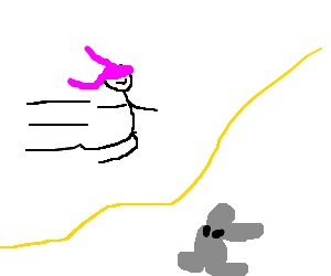 girl w pink hair jumps the rope over a rabbit