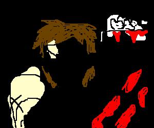 a man jizzing blood
