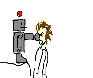 Robot punching guy in the face