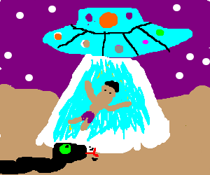 UFO abducting brownman while black snake watches